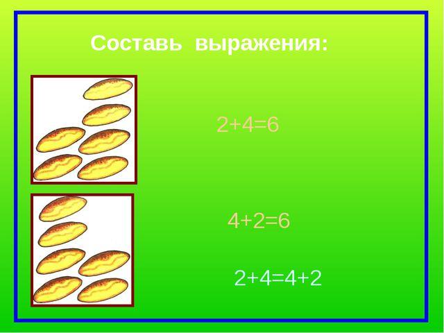 2+4=6 4+2=6 2+4=4+2 Составь выражения: