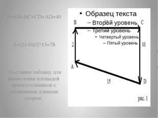 P=AB+BC+CD+AD=40 S=(2+10)/2*13=78 Составим таблицу для вычисления площадей п