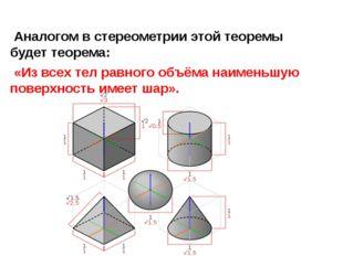 Аналогом в стереометрии этой теоремы будет теорема: «Из всех тел равного объ
