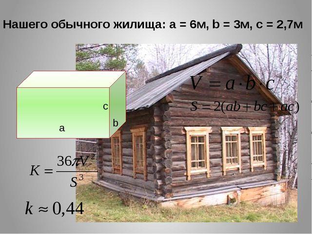 Нашего обычного жилища: a = 6м, b = 3м, c = 2,7м а b с