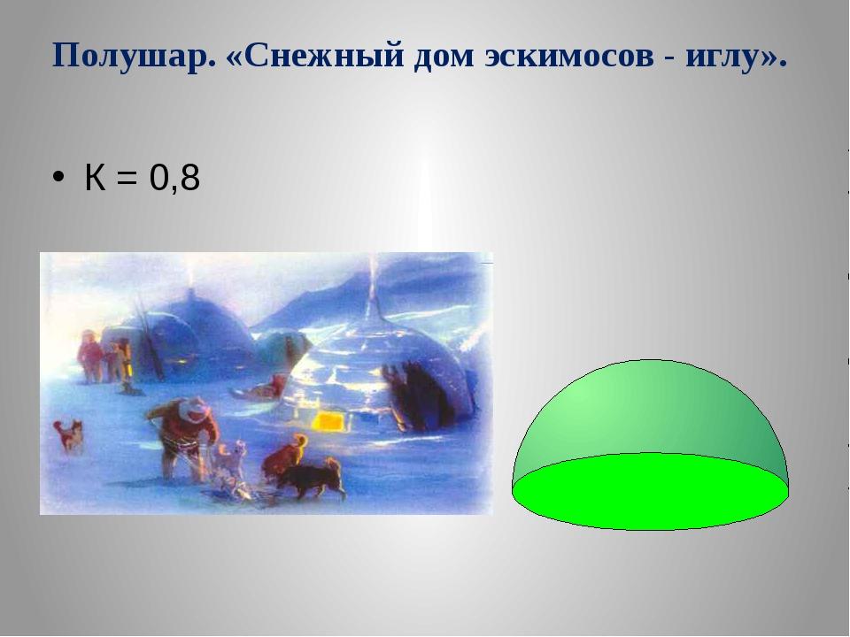 Полушар. «Снежный дом эскимосов - иглу». К = 0,8