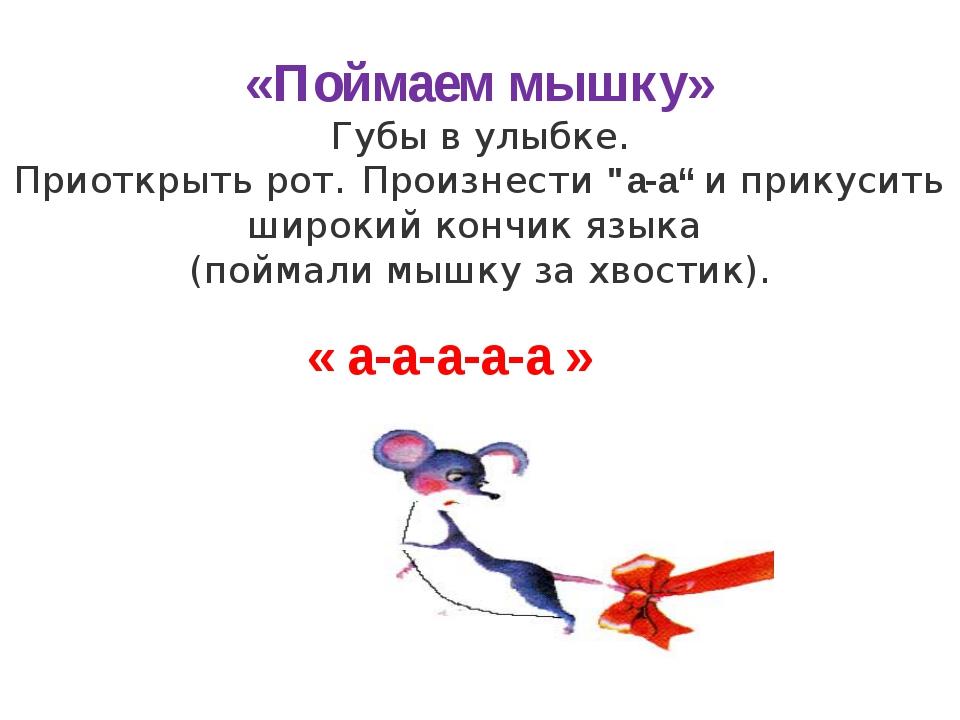 """«Поймаем мышку» Губы в улыбке. Приоткрыть рот. Произнести """"а-а"""" и прикусить ш..."""