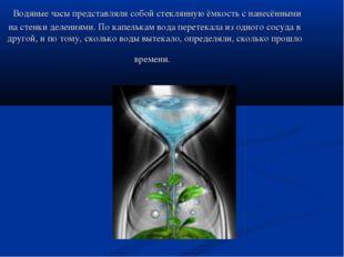 Водяные часы представляли собой стеклянную ёмкость с нанесёнными на стенки д