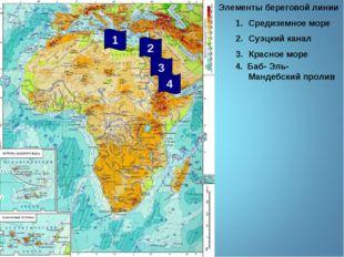 Элементы береговой линии Средиземное море Суэцкий канал Красное море 2 3 1 4