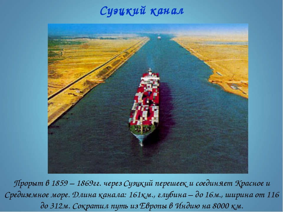 Суэцкий канал Прорыт в 1859 – 1869гг. через Суэцкий перешеек и соединяет Крас...