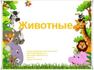 Животные Конкурс презентаций «Обо всем на свете» Выполнила: Демиденко.А.Р. Ме