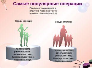 Самые популярные операции Среди мужчин: . Среди женщин : липосакция; риноплас