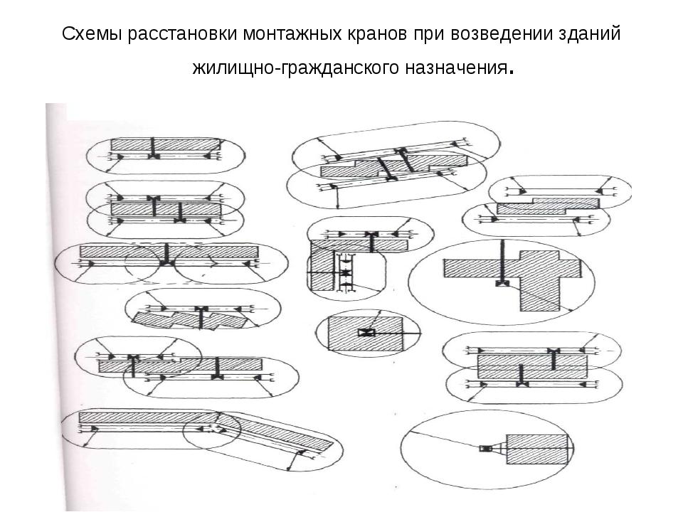 Схемы расстановки монтажных кранов при возведении зданий жилищно-гражданского...