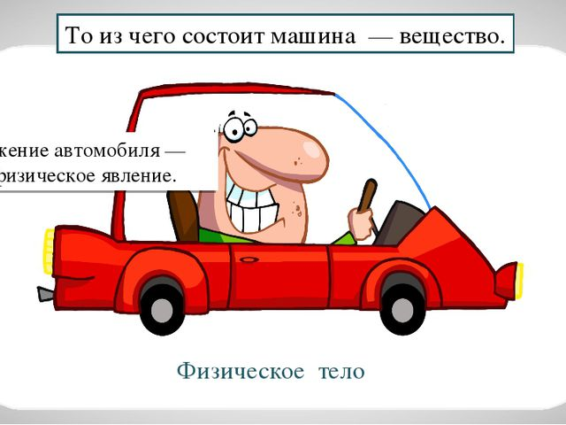То из чего состоит машина — вещество. Движение автомобиля — это физическое яв...