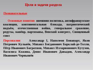 Цели и задачи раздела Персоналии Александр I, Наполеон Бонапарт, Яков Петрови