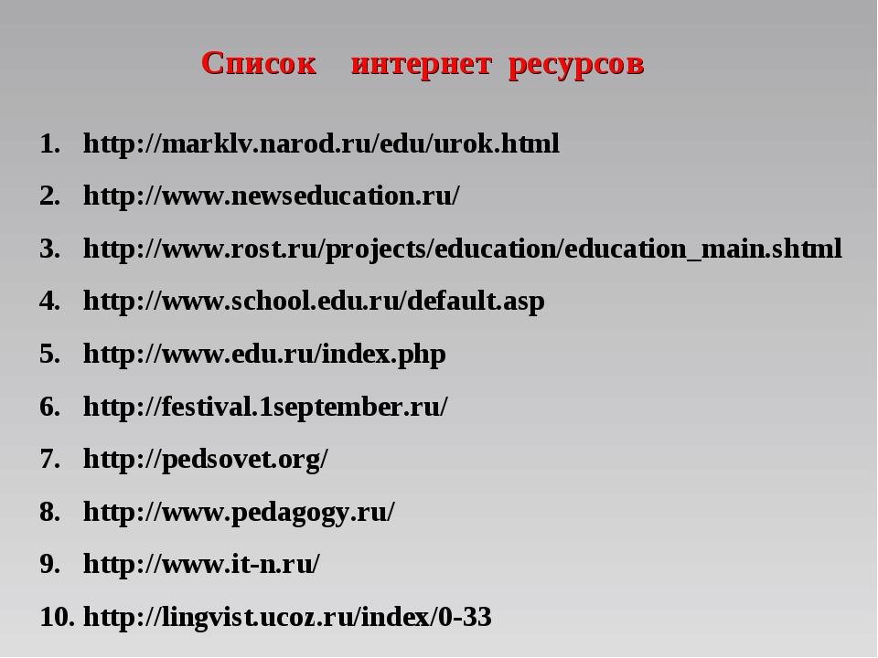 Список интернет ресурсов http://marklv.narod.ru/edu/urok.html http://www.news...
