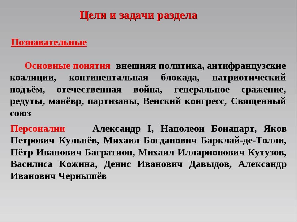 Цели и задачи раздела Персоналии Александр I, Наполеон Бонапарт, Яков Петрови...
