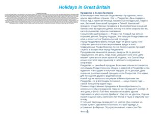 Holidays in Great Britain Holidays in Great Britain There are fewer public ho