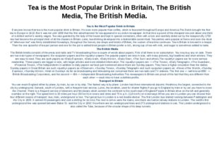 Tea is the Most Popular Drink in Britain, The British Media, The British Medi