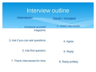 Interview outline Interviewer Introduce yourself, magazine. 3. Ask if you can