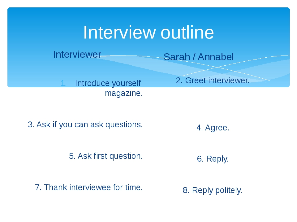 Interview outline Interviewer Introduce yourself, magazine. 3. Ask if you can...