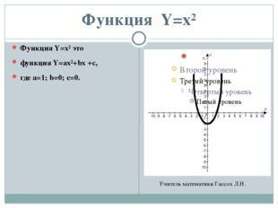 Функция Y=x² Функция Y=x² это функция Y=ax²+bx +c, где а=1; b=0; с=0. Учитель