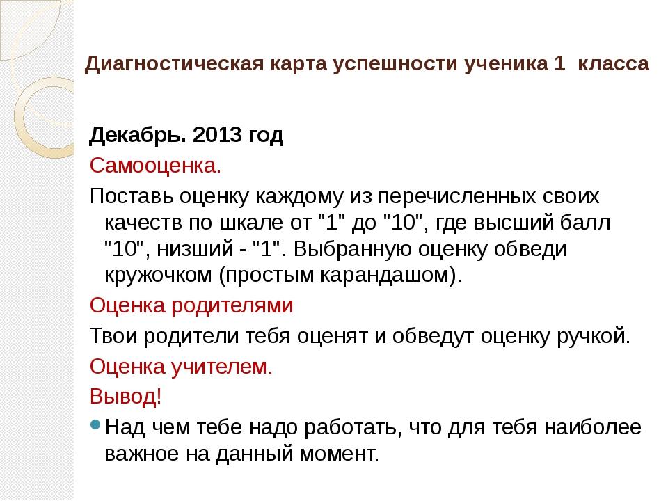 Диагностическая карта успешности ученика 1  класса Декабрь. 2013 год Самооц...