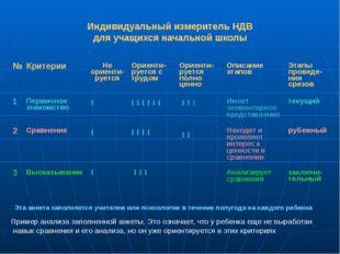 Индивидуальный измеритель НДВ для учащихся начальной школы Эта анкета заполня