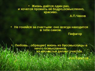Жизнь даётся один раз, и хочется прожить её бодро,осмысленно, красиво. А.П.Че