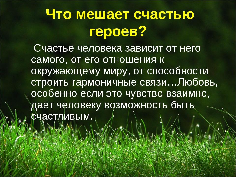 Что мешает счастью героев? Счастье человека зависит от него самого, от его о...