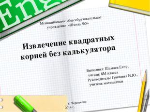 Муниципальное общеобразовательное учреждение «Школа №5» Извлечение квадратн