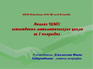МБОУ Войновская СОШ №9 им.В.И.Сагайды Анализ ШМО естественно-математического