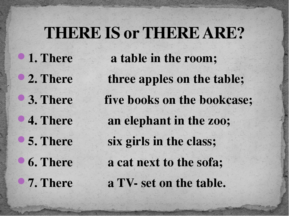 THERE IS or THERE ARE? 1. There a table in the room; 2. There three apples on...