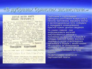 «В дубравах брянских засвистели.» Партизаны и подпольщики брянщины уничтожали