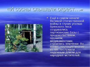 «И сосны слышали окрест…» Ещё в самом начале Великой Отечественной войны в гл