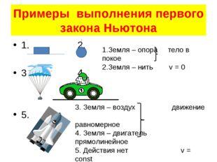 Примеры выполнения первого закона Ньютона 1. 2. 3. 4. 5. 1.Земля – опора тело