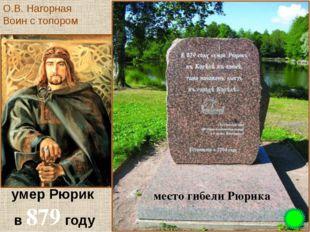 умер Рюрик в 879 году место гибели Рюрика О.В. Нагорная Воин с топором