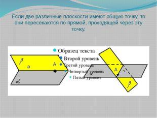 Если две различные плоскости имеют общую точку, то они пересекаются по прямой