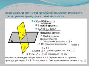 Теорема:Если две точки прямой принадлежат плоскости, то вся прямая принадлежи