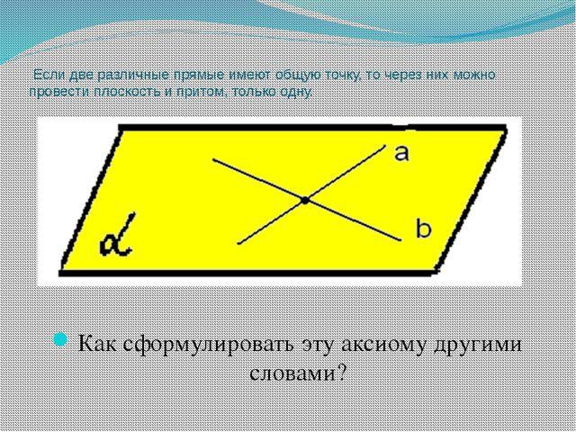 Если две различные прямые имеют общую точку, то через них можно провести пло...