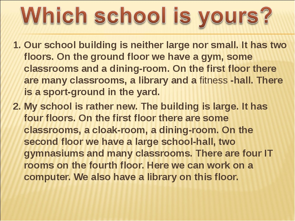 1. Our school building is neither large nor small. It has two floors. On the...