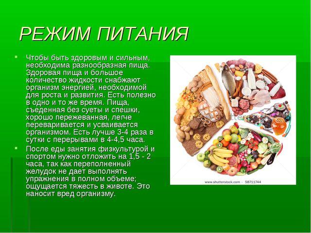 РЕЖИМ ПИТАНИЯ Чтобы быть здоровым и сильным, необходима разнообразная пища. З...