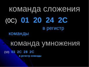 команда сложения (0С) 01 20 24 2С в регистр команды команда умножения (10) 03