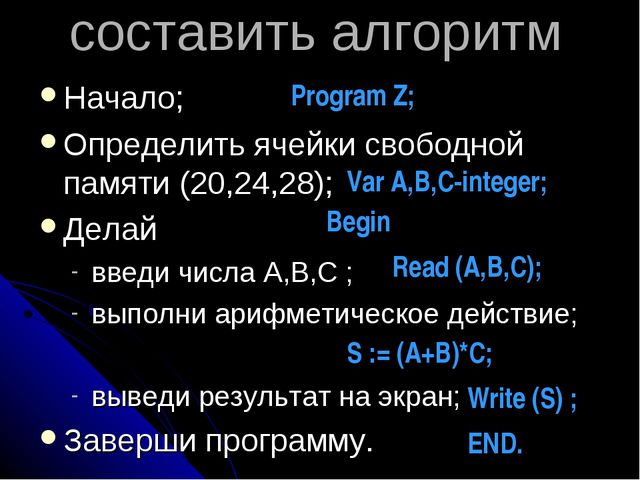 составить алгоритм Начало; Определить ячейки свободной памяти (20,24,28); Дел...