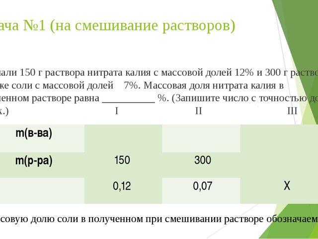 Задача №1 (на смешивание растворов) Смешали 150 г раствора нитрата калия с ма...