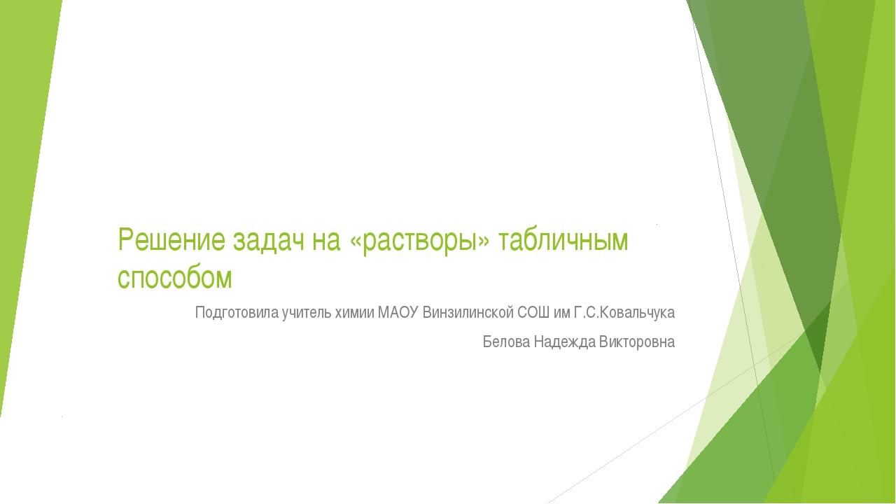 Решение задач на «растворы» табличным способом Подготовила учитель химии МАОУ...