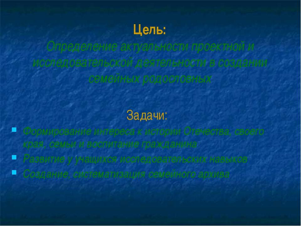 Цель: Определение актуальности проектной и исследовательской деятельности в...