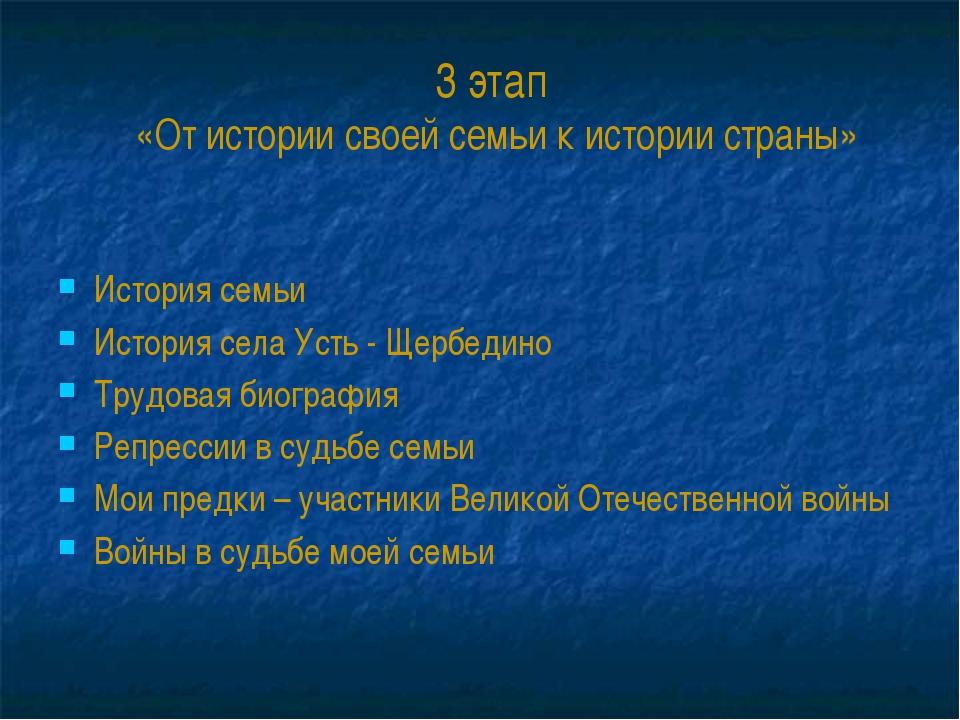 3 этап «От истории своей семьи к истории страны» История семьи История села У...