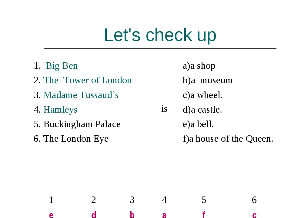 Let's check up 1. Big Ben  isa)a shop  2. The Tower of London b)a museum...