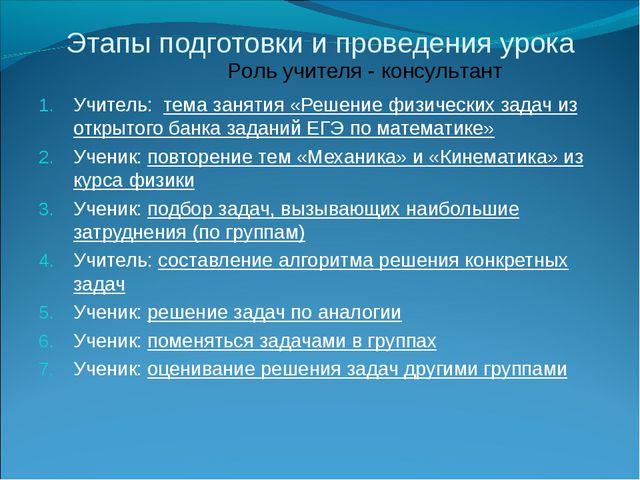 Этапы подготовки и проведения урока Учитель: тема занятия «Решение физических...
