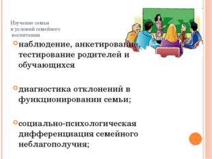 Изучение семьи и условий семейного воспитания наблюдение, анкетирование, тест