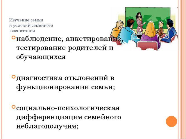 Изучение семьи и условий семейного воспитания наблюдение, анкетирование, тест...