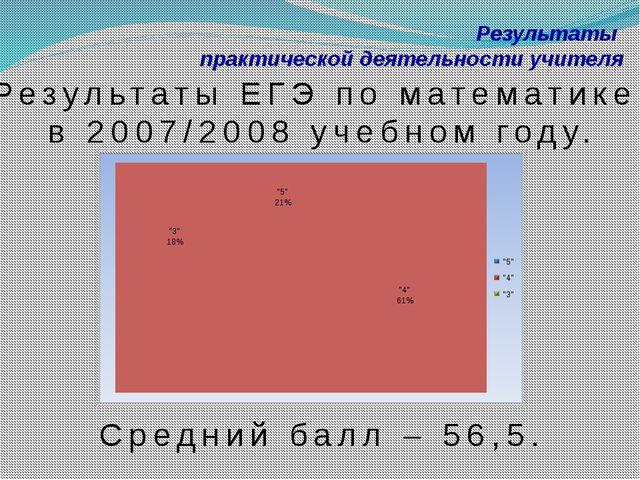 Результаты практической деятельности учителя Результаты ЕГЭ по математике в 2...
