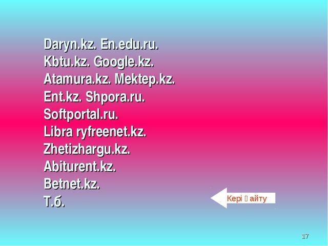 * Daryn.kz. En.edu.ru. Kbtu.kz. Google.kz. Atamura.kz. Mektep.kz. Ent.kz. Shp...