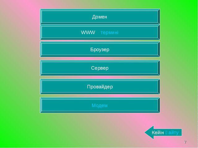 * Домен WWW термині Броузер Сервер Провайдер Модем Кейін қайту